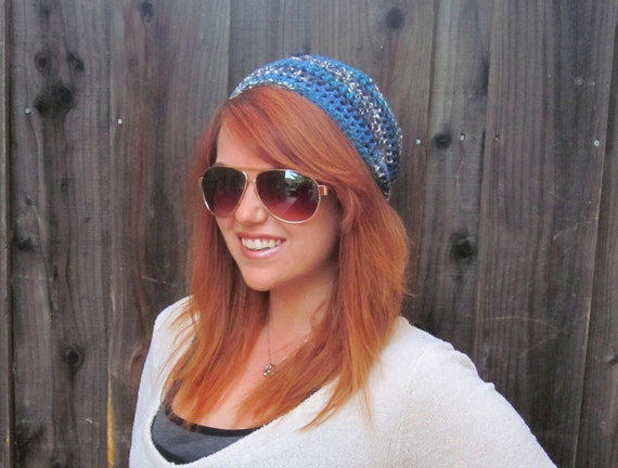Slouchy Beanie, Blue Turquoise Gray White Variegated (crochet lacy hat)