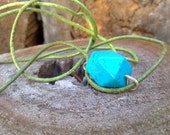 howlite turquoise necklace sterling silver setting on green leather cord