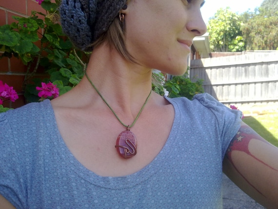 oval pendant  or necklace  fire agate pendant with copper wire wrap