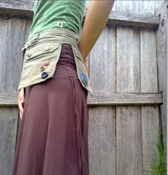 recycled canvas/cotton utility belt Army green
