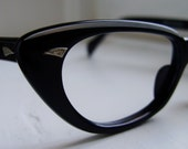 1950s Ladies Black Cat Eye Eyeglass Frames with Silver Accents NOS