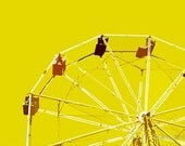 """12"""" x 8"""" Bright Yellow Ferris Wheel, Great for a Kid's Room, Amusement Park, Circus, Ride, Fine Art by Glennis Siverson"""