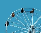 "12"" x 8"" Aqua Ferris Wheel, Amusement Park Ride, Circus Fun, Kids Room or Nursery Decor, Photography by Glennis Siverson"