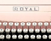 """8"""" x 8"""" Fine Art Print, Vintage Royal Typewriter, Pink Metal and Plastic, Photography by Glennis Siverson"""