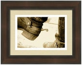 "Professionally Framed 20.25"" x 16.13"" Leather Boots and Spurs, Western, Cowboy, Weathered and Worn, Fine Art Photography by Glennis Siverson"