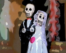 """8"""" x 8"""" Day of the Dead Wedding Couple, Bride and Groom, Wed Dead, Love Never Dies, Fine Art Photography by Glennis Siverson"""
