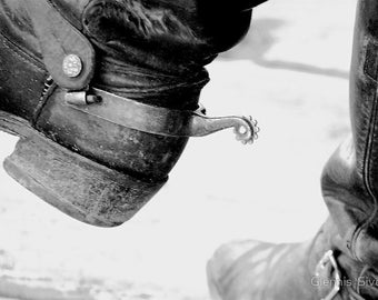 "12"" x 8"" Boots 'n Spurs, Black and White Print, Cowboy, Western, Weathered and Worn, Fine Art Photography by Glennis Siverson"