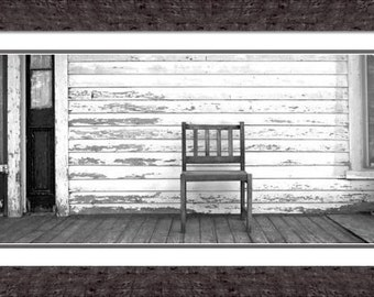 """Large Black and White Print, Farm House, 20"""" x 10"""", Ready to Frame Fine Art, Shabby Chic, Vintage Chair, Photography by Glennis Siverson"""