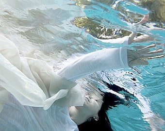 """12"""" x 8"""" Print, Under Water, Dream, Submerged, Floating, Waves, Fine Art Photography by Glennis Siverson"""