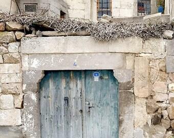 "9"" x 12"" Rustic Door, Aqua, Cream, Tan, Weathered and Worn, Fine Art Travel Photography by Glennis Siverson"