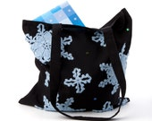 Winter Dream-black cotton tote bag with light blue crocheted wool snowflake applique