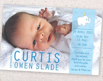 Headline Baby birth announcement cards. Printable. For baby boy or baby girl.
