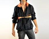 oversize neon jacket 80s 90s New Balance windbreaker black peach pullover running shell extra large XL Lucky 7