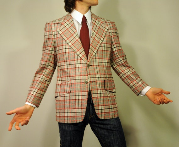 60s 70s Ugly Old Man Disco Plaid Striped Windowpane 2 Button