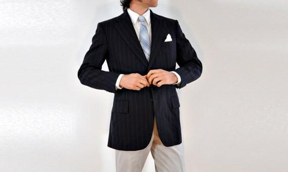 mens navy pinstripe blazer, chalkstripe sportcoat, Dunhill Tailors NYC, slimfit 38R 40R, Lucky 7
