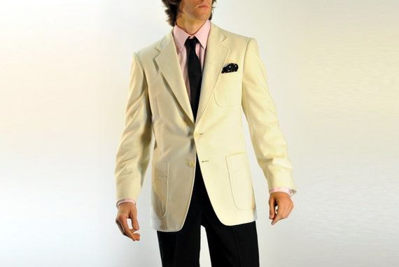 White Cream Mens Blazer Sportcoat Tuxedo Dinner Jacket