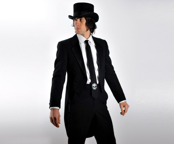 mens vintage tuxedo jacket tailcoat Christian Dior vampire wedding black tie slim 36R 38R