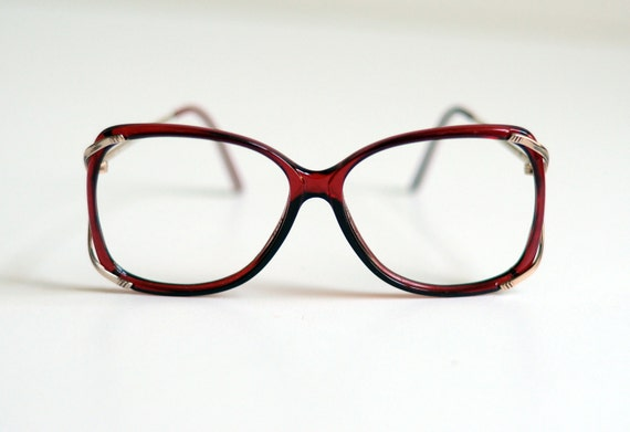 red plastic glasses, 70s oversized round square, gold metal, Safilo Italy, Italian, Lucky 7