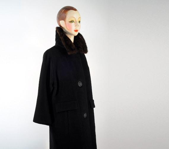 50s 60s black swing coat 1950 1960 cashmere mohair mink collar Strawbridge Clothier Lucky 7