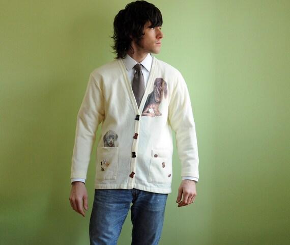 80s Cream White Cardigan Dog Sweater Bone Buttons Super Soft Medium Large Lucky 7