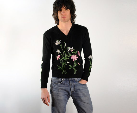 black v-neck sweater with embroidered flowers green white pink small medium large Lucky 7