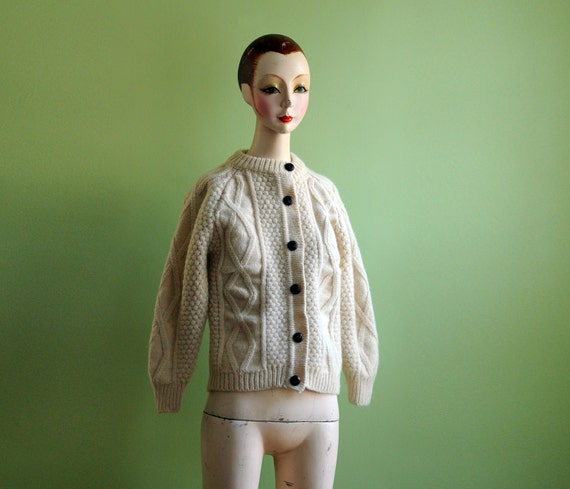 chunky cable knit cardigan, cream white, leather buttons, donegal wool Lucky 7