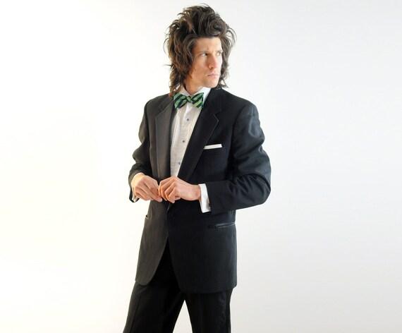 mens black tuxedo jacket Christian Dior Monsieur single button satin notch lapel 40R 42R