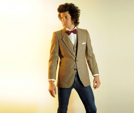 mens suit jacket vest combo, birdseye tweed, light brown, YSL, Yves Saint Laurent, 36R 38R