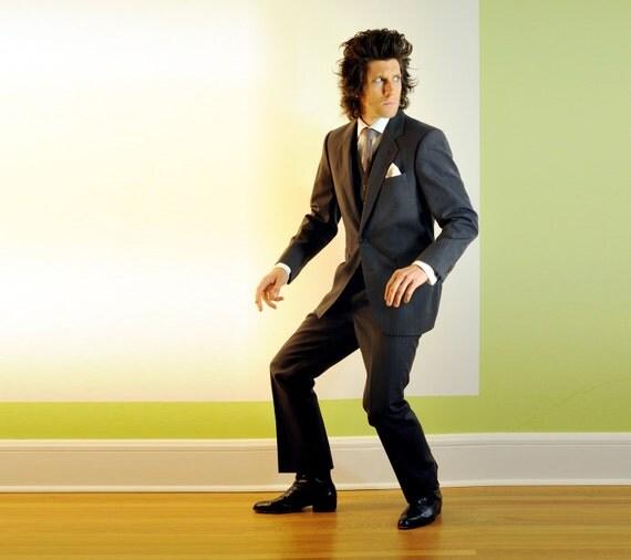 mens three piece suit, charcoal gray brown, pinstripe, 100% wool herringbone, 40R 42R