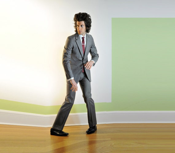 mens gray suit, Nino Cerruti, pinstripe, slimfit, mod, 100% wool, 36R