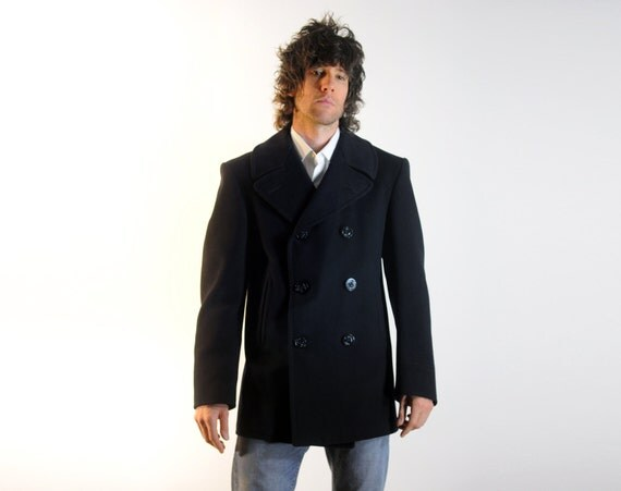 authentic US Navy pea coat naval nautical midnight bluencorduroy lined pockets service issue 38R
