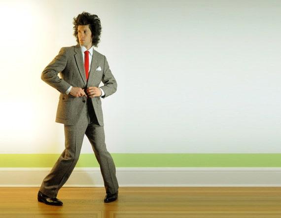 RESERVED mens oatmeal brown suit, beige birdseye tweed, flecked speckled, suede details, Johnny Carson, 40R 42R
