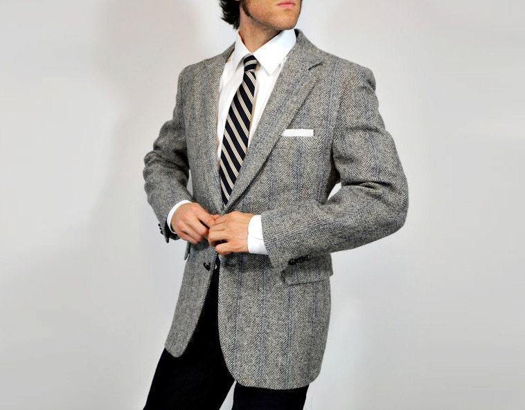 mens Harris Tweed suit jacket gray blazer gray sportcoat