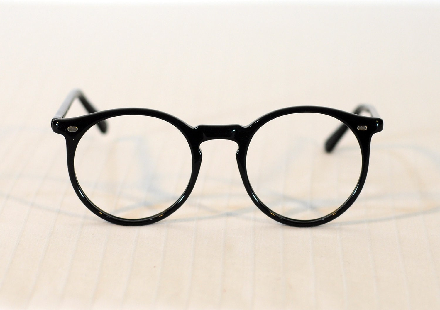 Eyeglass Frames Fairview Heights Il : 60s Eyeglasses Frames Oversized Round Black Plastic Vanity NOS