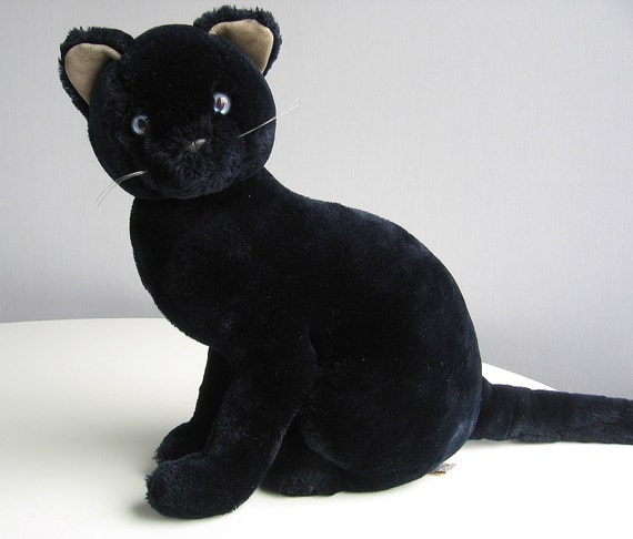 Vintage Black Cat Stuffed Animal Plush Toy with Bright Blue Eyes...LOOK