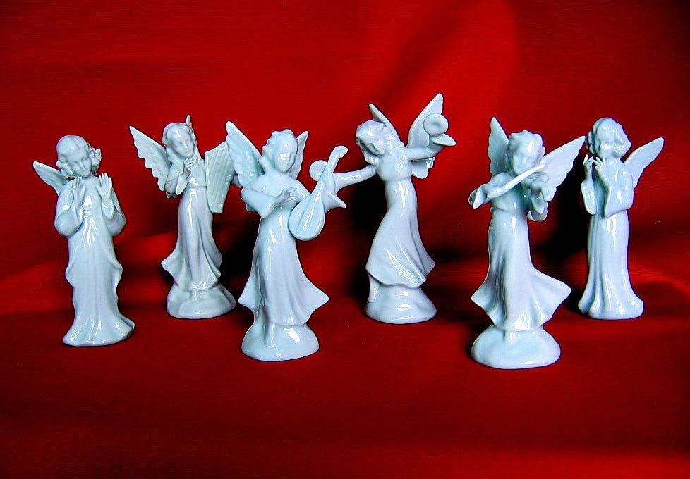 Dresden Porcelain Christmas Angel Musician S Band Set Of 6