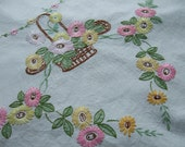 vintage hand embroidered linen table cloth cover