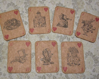 Alice in Wonderland Playing Cards - Ancient/Aged - ephemera, vintage style, red queen, heart, white rabbit, mad hatter, cheshire cat