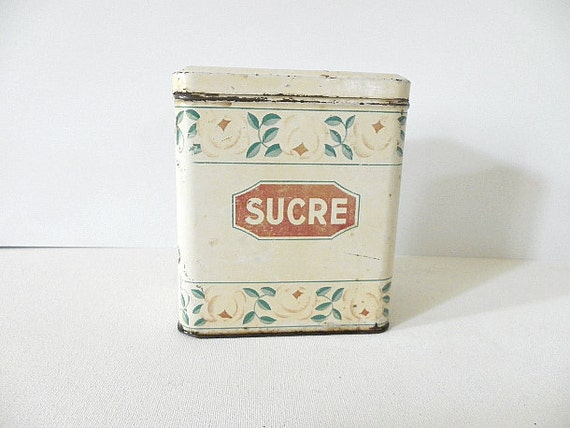 French vintage Tin Sugar Tin