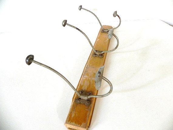 French Vintage Coat Rack Vintage  Wood and Metal - SHABBY chic - industrial loft -