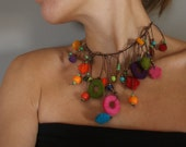 RESERVED FOR IRENE colorful necklace with felt and glass beads