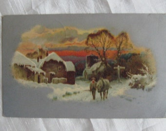 1908 Homesteader and His Horse Winter Scene