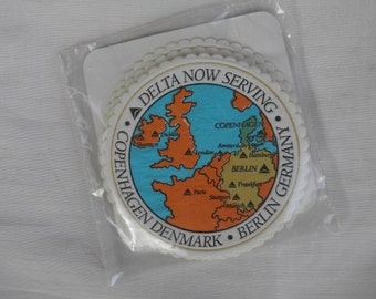 1991 Airline Delta Air Lines Memorabilia Coasters Announcing Service to Denmark and Berlin - Nearly Mint