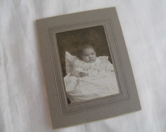 Cabinet Photograph Baby in Christening Dress 1904  -Black and White