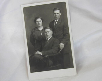 Siblings Photograph Card Postcard  RPPC Brothers Sister Family