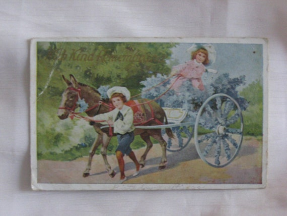 Sweet Little Boy and Girl with Cart Vintage from 1909                      With Kind Remembrance