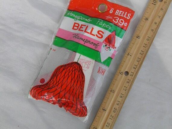 6 Red Honeycomb Bells in Vintage Unopened Package