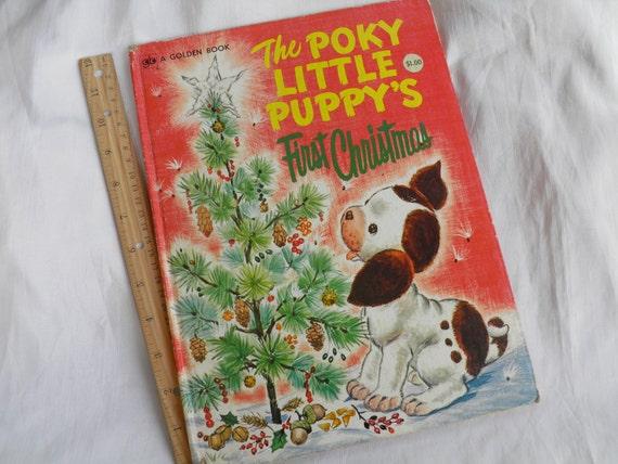 1973 Jumbo Size Golden Press Book - The Poky Little Puppy's First Christmas - Children's Book