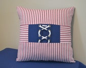 Nautical Knot Red White and Blue Pillow