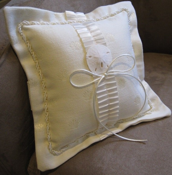 Beach Wedding Ring Bearer Pillow Seashell and Sand Dollar